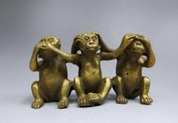 Carved alloy metal sculptures - decoration copper crafts Folk Art Exquisite hand carved Brass Three Monkeys sculpture Home decor Metal crafts special gi Arts