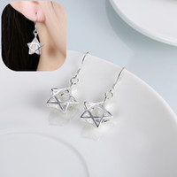 Wholesale Silver Plated Jewelry Earrings Studs for Women Hollow Five pointed Star Cublic Zircon Ear Studs Environmental Copper Earrings