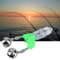 Wholesale LED Flash Light Night Electronic Fishing Bite Alarm Finder Lamp Double Twin Bells Tip Clip On Fishing Rod Tackle Outdoor Fishing Accessories