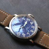 Acheter Bracelet en cuir pilote-Luxe Pilot Cool Hommes Automatique Montre Bracelet en cuir brun spéciale Bleu Dial Homme Montre Grande Taille 45MM