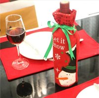 acrylic wine bottles - 2016 Christmas Wine Bottle Bag Dinner Party Decoration Bow Knot Snowman Christmas Tree Santa Claus Bottle Cover Bag Christmas supplies
