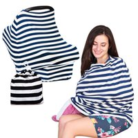 Wholesale in Multi Use Stretchy Stripe T shirt Baby Car Seat Cover Breathable Nursing Cover for Breastfeeding