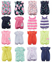 Wholesale New Baby Rompers Summer Cotton Baby Girl Boy Short Sleeve Newborn Baby Clothes Floral Infant Jumpsuits Infant One pieces