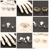 Wholesale Simple Flower Engagement Rings - The Korean version of the micro diamond studded gold silver flower ring finger joint ring simple zircon