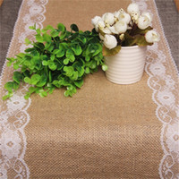 Wholesale New Vintage Lace Jute Table Runner original ecology style White Natural Jute Country Party Wedding Decoration YL678711