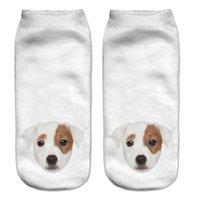 al por mayor perritos lindos del barro amasado-Venta al por mayor-2016 nuevo 3D impresa animal tobillaje lindo lindo corte calcetines múltiples colores Harajuku estilo pug perro cachorro