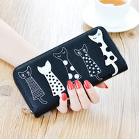 Wholesale 2016 Women Wallets New Arrival Large Capacity Best Selling Lovely Cat Pattern Printed Zipper Purse Wallet DL