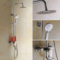 abs bathtub - bathroom shower set faucet with quot Ultrathin showerhead ABS hand shower swivel bathtub tap adjust height