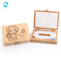 Wholesale Teeth Box organizer for baby save Milk teeth Wood storage box great gifts YEARS creative for kids for boys