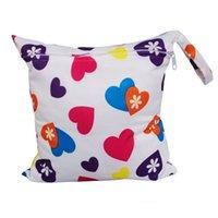 Vente en gros- Baby Nappy portatif réutilisable lavable mouillé sec Tissu Zipper étanche sac à couches pour bébé Nappies Sacs de rangement Sac de nage T0174