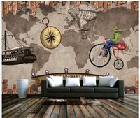 Wholesale 3D photo wallpaper custom d wall murals wallpaper mural Hand painted wall of setting of retro nostalgia to travel d living room wall decor