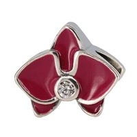 orchid food - Authentic Sterling Silver Bead Charm Red Enamel Orchid Flower With Crystal Beads Fit Women Pandora Bracelet Bangle DIY Jewelry HK3725