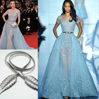 Wholesale Celebrities Black Dress Red Carpet - Li Bingbing in Zuhair Murad Red Carpet Evening Dresses Overskirts Lace Applique Beads Lace Poet Short Sleeve Formal Prom Celebrity Gowns