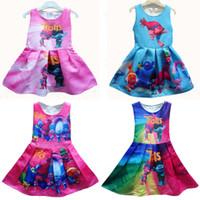 al por mayor ropa de bebé plisadas-Los nuevos 10 cabritos de los colores Trolls plisaron los vestidos sin mangas de la princesa de la impresión de los trolls de la historieta del vestido que arropan C1739
