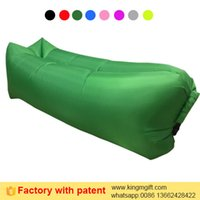Wholesale 2017 Newest factory directly supply square head dark green plaid pattern T polyester beach lazy inflatable sleeping bag with patent