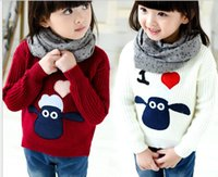 Wholesale New arrive girls sweaters autumn winter sheep quality pullover casual sweaters girls children jumper cartoon animal outfits