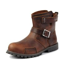 Wholesale 2017 New Arrival Men Leather Vintage Motorcycle Boots Automobile Motorcross Racing Shoes Motorbike Motorcyclists Road Riding Shoes