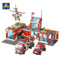 Wholesale odels Building Toy Blocks KAZI Style Fire Fight Series City Fire Station Truck Helicopter Firefighter Building Bricks Blocks Toys For C