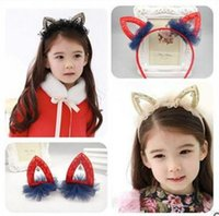 animals with two heads - Cartoon cat ear hair band Sell au clip to clip of the girls hair hoop head band with diamond two styles shipping free