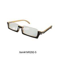 bamboo reading glasses - small rectangle black natural bamboo half frame reading glasses