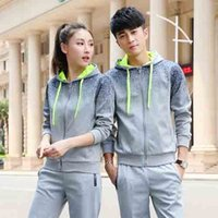 Wholesale 2016 Men Women long sleeved sports suit Slim cardigan sweater coat big yards Entertainment Sportswear Running Sets