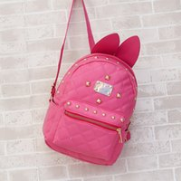 Wholesale Newest design soft rabbit ear backpacks rabbit ears casual mini backpack for women candy color female school bag