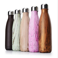 Wholesale Steel Camp Mug - Water Bottle Flask Colorful Stainless Steel Vacuum Bottles Thermos Flask Travel Sport Insulated Cups 500ml for Camping Mugs Free Shipping