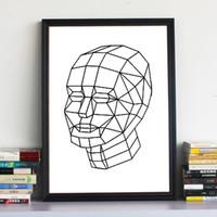 art line canvas print - Wall Art HD Print on Canvas Geometry Line Head Modern Canvas Painting No Framed