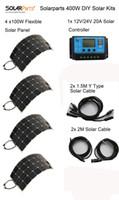 Solarparts 400W DIY комплекты Солнечной системы 4 x100W PV гибкая панель 12 солнечных, 1 х 20A солнечный регулятор, полный кабель
