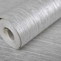 Wholesale Vertical Texture Metallic Silver Faux Grasscloth Vinyl Modern Wall Paper Straw Glossy Grass Cloth Wallpaper For Bedroom Wall