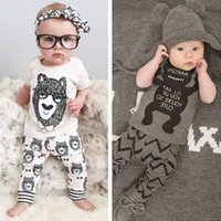 Wholesale High Quality Summer Unisex Cute Baby Set Short Sleeve Cotton Baby Suit Little Monster Children Set M T Children Cloths