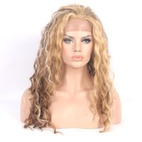 Wholesale Cheap Top Quality Brown Blonde Ombre Curly Synthetic Lace Front Wig Heat Resistant For Female