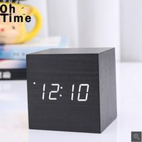 bedside digital clock - Explosion models LED wood electronic clock creative alarm clock bedside clock personality small gift factory direct