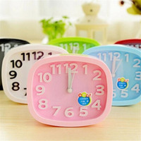 achat en gros de petits réveils-Mode Lovely Modern brief Candy Color Circle Mute Réveil Lounged Solid Color Double Small Desktop Simple Style Clock Free DHL