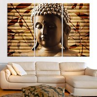asian wall decorations - 3pieces classical buddha painting solemn Buddhism wall canvas art asian Religion ancient picture for house decoration No Frame