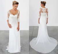 Wholesale Simple Lace Sheath Wedding Dress - 2016 Simple Beach Wedding Dresses 3 4 Long Sleeves Vintage Wedding Gowns Bohemian Sheath Chiffon Greek Bridal Gowns Lace Appliques