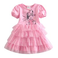 Wholesale The new girls pink dress cotton spandex one color drop shipping