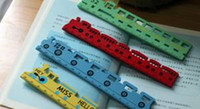 Wholesale Candy bright color Lovely train wooden ruler Student a ruler Four colors to choose