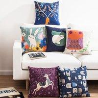 bear cushion covers - Orange owl pillow Blue Bear Heads rabbit Elephant deer decorative throw pillows Christmas home decor designer linen cushions cover for sofa