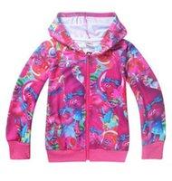 Wholesale Hot sales Trolls Kids outerwear Sweater hoodies sportswear girls Cartoon Trolls Hooded coat clothes hoody jacket TA114