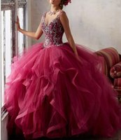 Dark Red Quinceanera Robes Keyhole Back Crystal Beading Masquerade Ball Gowns Ruffled Ball Gown Princess Debutante Robes