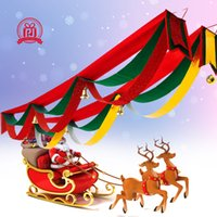 Wholesale 3M Event Party Supplies Christmas Decoration For Home Santa Bunting Pennant three layer wave Hanging Flag Banner Xmas Ornaments Supplies Elk