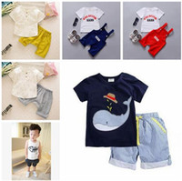 Boy Spring / Autumn Cotton Little Boy Outfits Sets 2017 Summer Whale Striped Casual Outfits Boys' Cotton Clothing Short Sets Outwear Baby Boy Clothing Baby Clothes 300