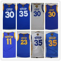 0d6f5eb7d647 2017 Finals Patch Youth 35 Kevin Durant Jersey Boys 30 Stephen Curry Blue  11 Klay Thompson Kids 23 Draymond Green Final Basketball Jersey ...