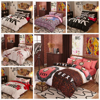 Wholesale Pink Bedding Set VS Duvet Covers Pink Letter Bed Sheet Bedclothes Set Leopard Flower Pillowcases Fashionable Bedding Home Textiles OOA1067