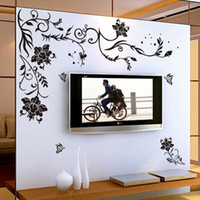 beautiful flowers wallpapers - Cool Black Flower Arts Wall Stickers Beautiful Backdrop Wall Decoration Personalized Home Decor Wallpaper Hot Selling
