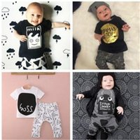 Summer baby bottle tops - Fashion Baby INS Top T shirt Pants Kids Children Infant Set Long Sleeve Suits Clothing Boy Outfits Clothes Gift