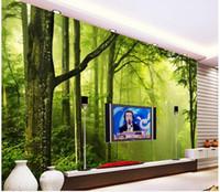 Wandmalerei Natur 3d Preise Foto Jede Größe Frische Grüne Wald Natur TV  Hintergrund Wand Wandbild