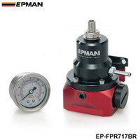 Wholesale EPAMN NEW Universal Adjustable Injected Bypass Fuel Pressure Regulator Fitting End AN10 With psi Gauge EP FPR717BR