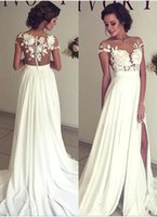 Wholesale Hot New Jewel Collar Lace Applique Ivory Chiffon Ruched See Through Body Beach Cheap Wedding Dresses W0131